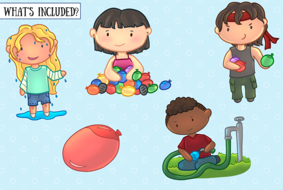 Download Free Water Balloon Fight Grafico Por Keepinitkawaiidesign Creative for Cricut Explore, Silhouette and other cutting machines.