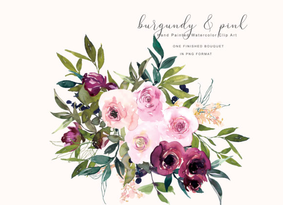 Watercolor Burgundy and Pink Flower Clip Graphic Illustrations By Patishop Art