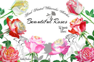 Watercolor Clipart with Roses Flowers Graphic By natalia.piacheva