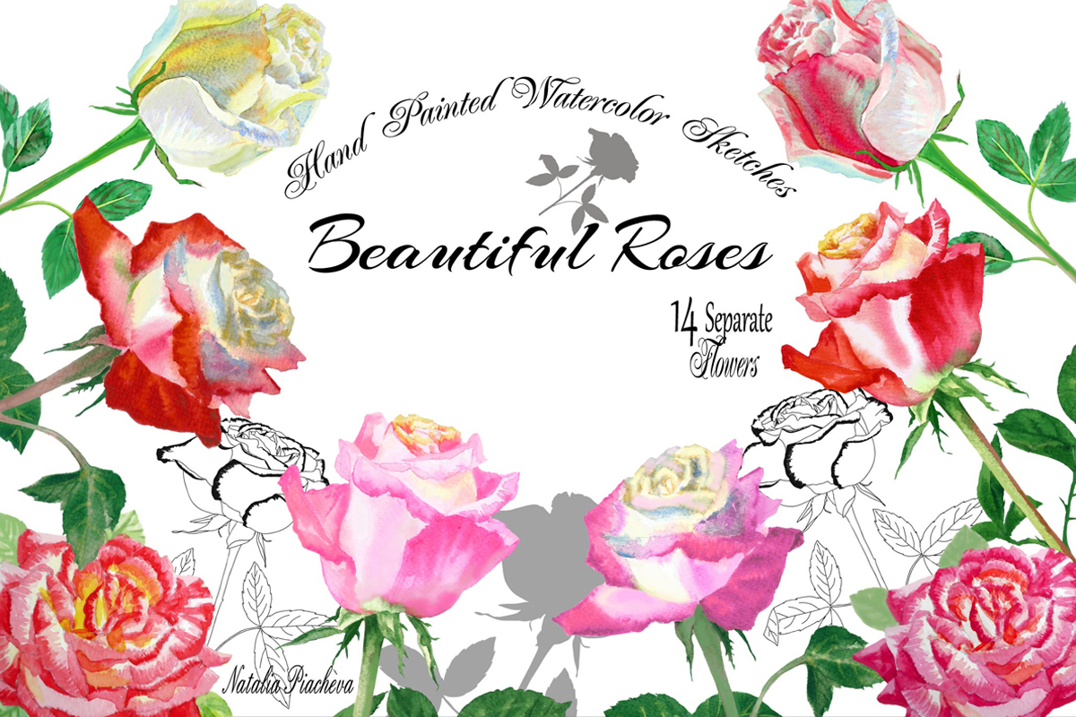 Download Free Watercolor Clipart With Roses Flowers Graphic By Natalia for Cricut Explore, Silhouette and other cutting machines.