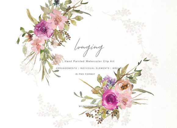 Download Free Watercolor Dusty Pink And Purple Flowers Graphic By Patishop Art for Cricut Explore, Silhouette and other cutting machines.