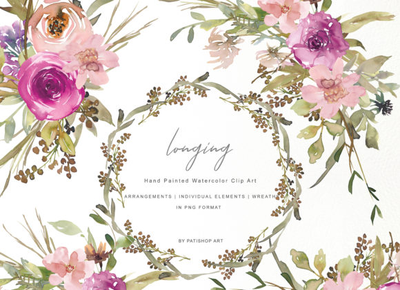 Watercolor Dusty Pink and Purple Flowers Graphic Illustrations By Patishop Art