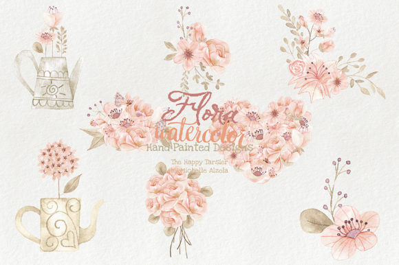 Watercolor Floral Clipart Orange Peach Graphic By Michelle Alzola Image 2
