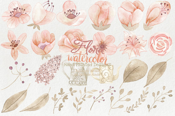 Watercolor Floral Clipart Orange Peach Graphic By Michelle Alzola Image 3