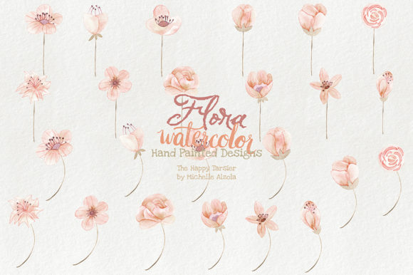 Watercolor Floral Clipart Orange Peach Graphic By Michelle Alzola Image 4