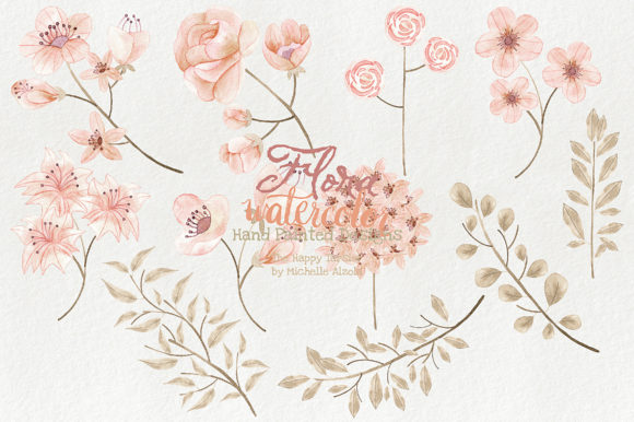 Watercolor Floral Clipart Orange Peach Graphic By Michelle Alzola Image 5