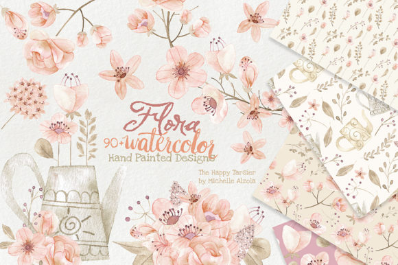 Watercolor Floral Clipart Orange Peach Graphic By Michelle Alzola Image 1