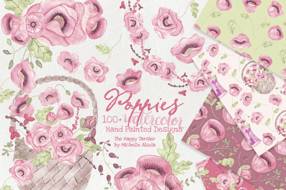 Watercolor Floral Clipart Poppies Red Graphic By Michelle Alzola