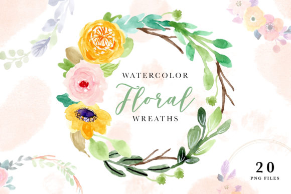 Watercolor Floral Wreaths Vol.2 Graphic Illustrations By wulano