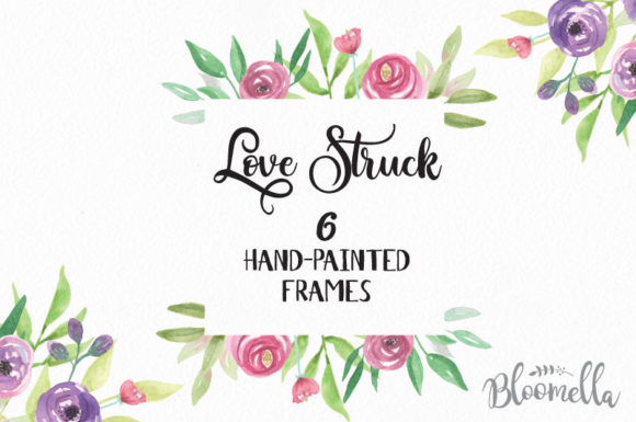 Watercolor Frames Floral Love Struck Set Graphic By Bloomella Image 1