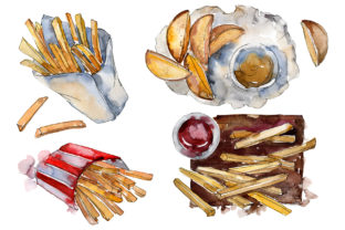 Download Free Watercolor French Fries Graphic By Mystocks Creative Fabrica for Cricut Explore, Silhouette and other cutting machines.