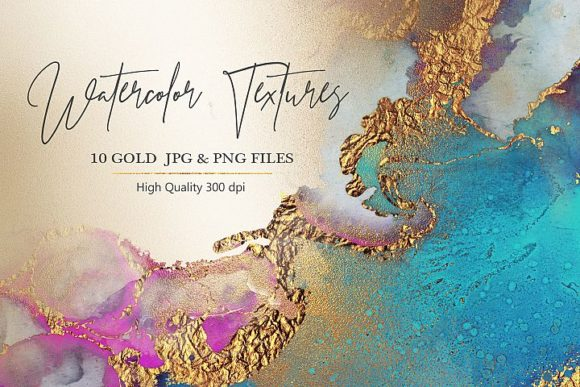 Print on Demand: Aquarell Gold PNG & JPG Texturen Grafik Pinselstriche von Creative Paper