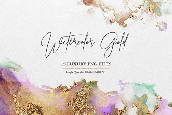 Print on Demand: Watercolor Gold PNG Textures Graphic Brushes By Creative Paper - Image 1