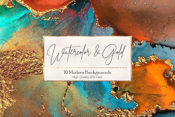 Artistic Watercolor Gold Textures Graphic Backgrounds By Creative Paper
