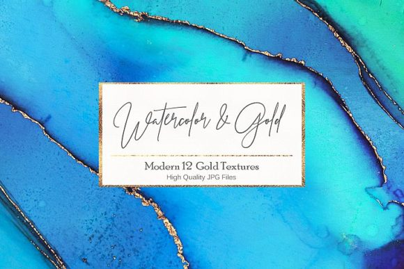 Print on Demand: Watercolor Gold Textures Graphic Textures By Creative Paper