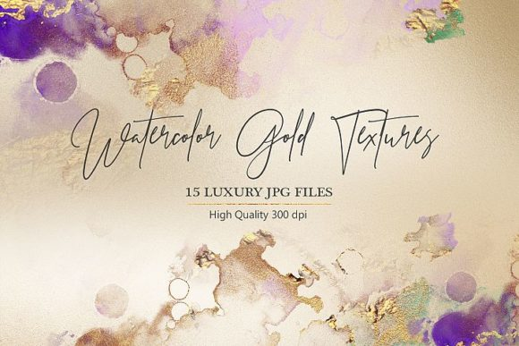 Watercolor Gold and Foil Textures Graphic Backgrounds By Creative Paper