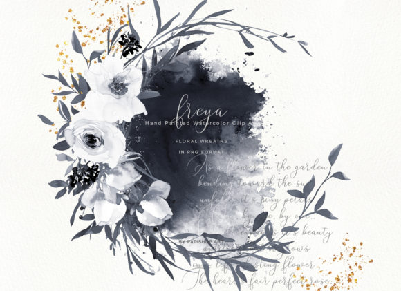 Watercolor Gray and White Rose Wreath Cl Graphic Illustrations By Patishop Art - Image 2