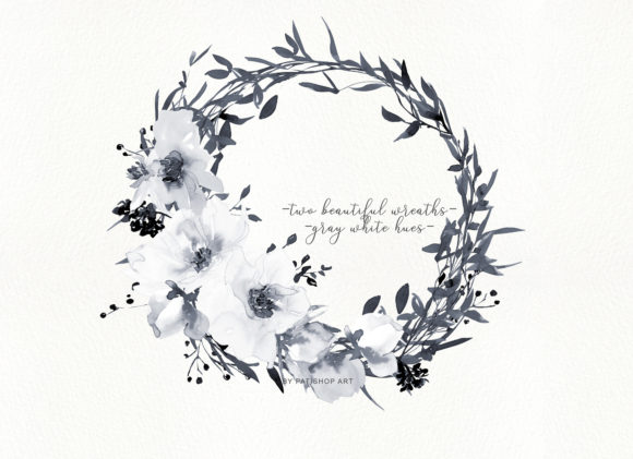Watercolor Gray and White Rose Wreath Cl Graphic Illustrations By Patishop Art - Image 3