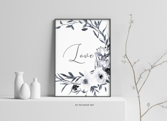 Watercolor Gray and White Rose Wreath Cl Graphic Illustrations By Patishop Art - Image 5