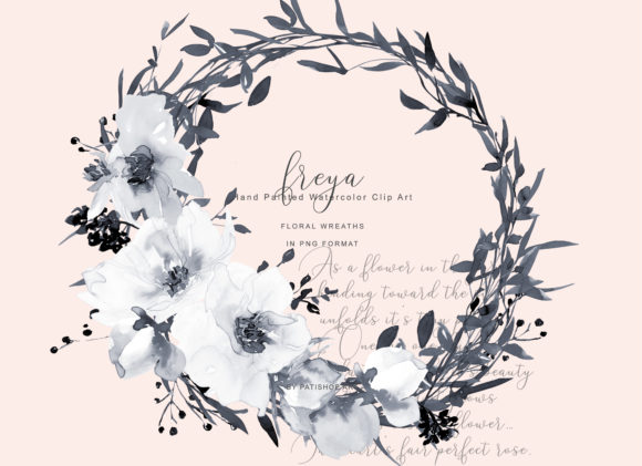 Watercolor Gray and White Rose Wreath Cl Graphic Illustrations By Patishop Art