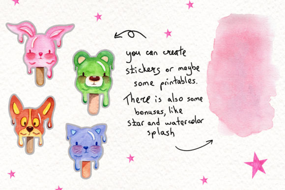 Print on Demand: Watercolor Ice Cream Animals Graphic Illustrations By tanatadesign - Image 2
