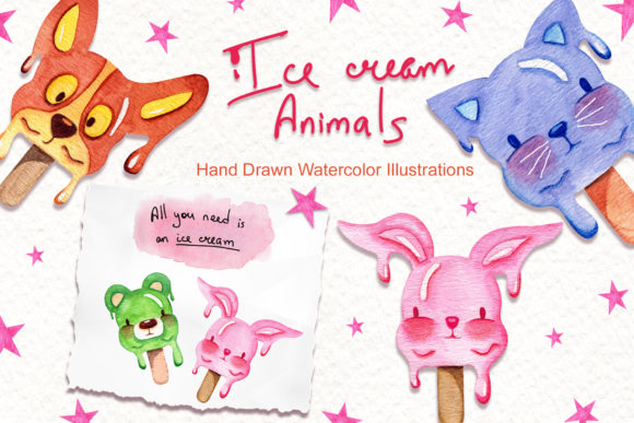 Print on Demand: Watercolor Ice Cream Animals Graphic Illustrations By tanatadesign - Image 1