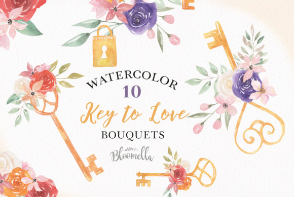 Watercolor Key Lock Flowers Set Floral Graphic By Bloomella