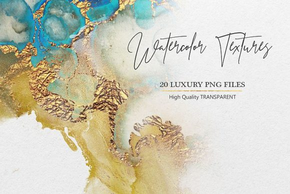 Print on Demand: Watercolor PNG Gold Textures Graphic Brushes By Creative Paper
