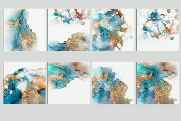 Print on Demand: Watercolor PNG Gold Textures Graphic Brushes By Creative Paper - Image 3