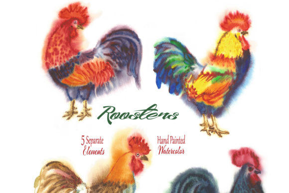 Print on Demand: Watercolor Roosters Clipart Graphic Illustrations By natalia.piacheva - Image 2