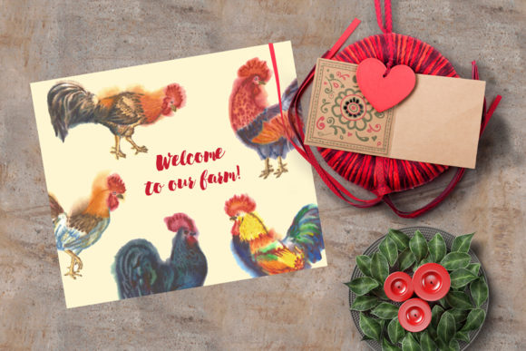 Print on Demand: Watercolor Roosters Clipart Graphic Illustrations By natalia.piacheva - Image 3