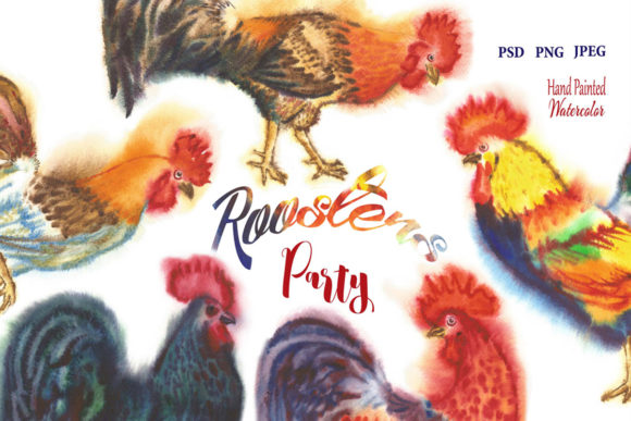 Print on Demand: Watercolor Roosters Clipart Graphic Illustrations By natalia.piacheva - Image 1
