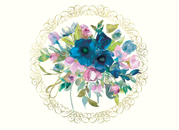 Watercolor Teal & Pink Flowers Clipart