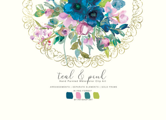 Watercolor Teal & Pink Flowers Clipart Graphic Illustrations By Patishop Art