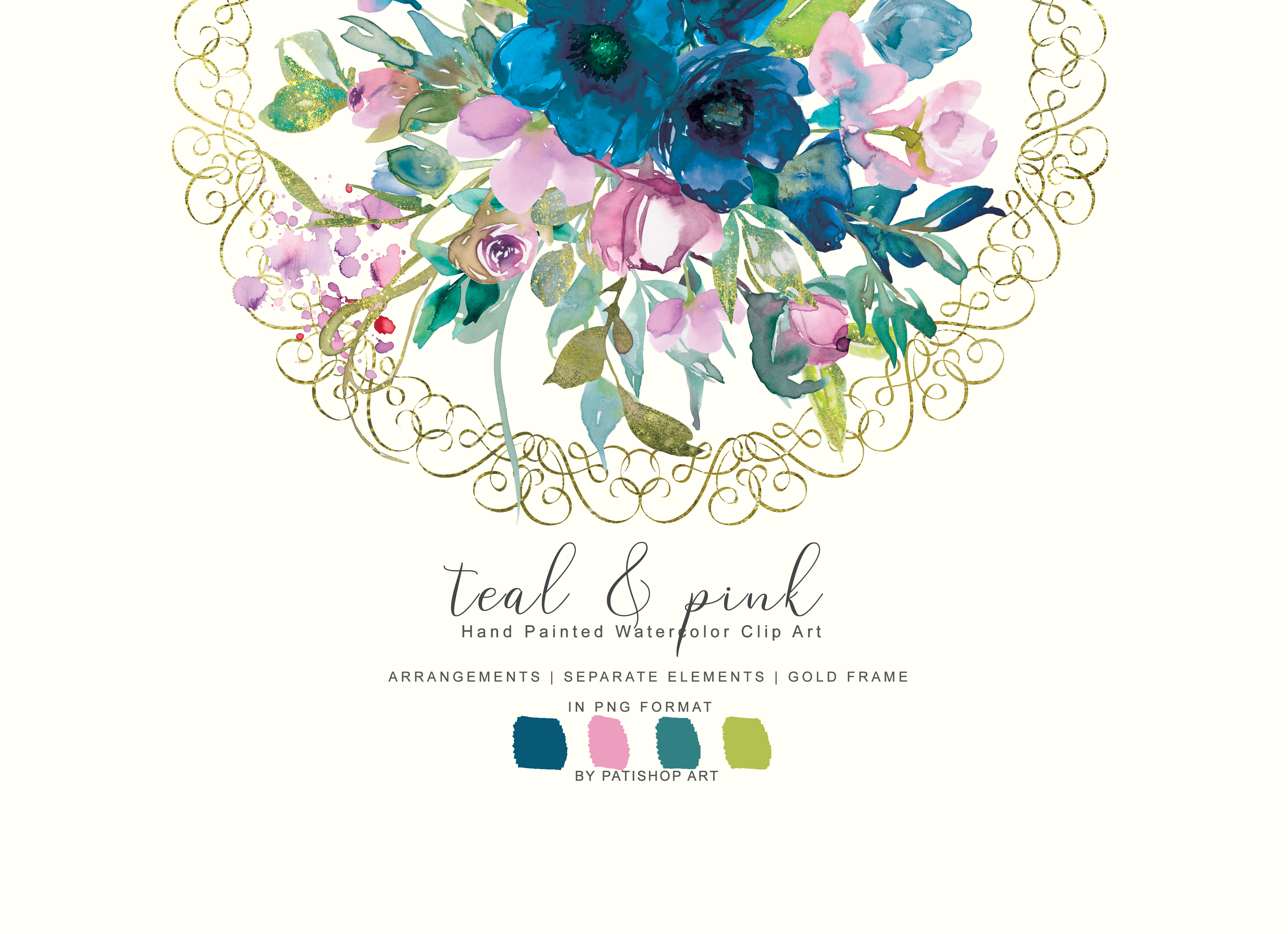 Download Free Watercolor Teal Pink Flowers Clipart Graphic By Patishop Art Creative Fabrica for Cricut Explore, Silhouette and other cutting machines.