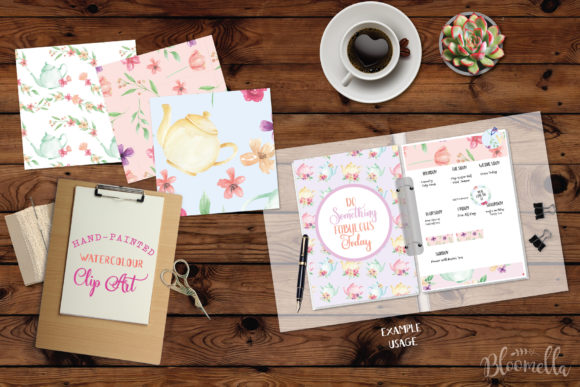 Download Free Watercolor Teapot Patterns Tea Set Flora Graphic By Bloomella for Cricut Explore, Silhouette and other cutting machines.
