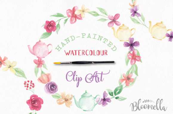 Watercolor Teapot Wreath Set Floral Graphic By Bloomella Image 2