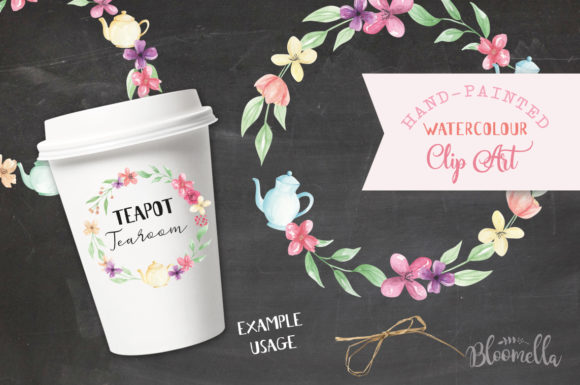 Watercolor Teapot Wreath Set Floral Graphic By Bloomella Image 3