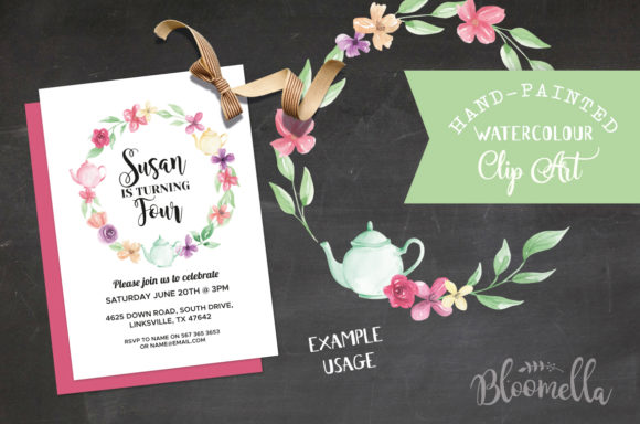 Watercolor Teapot Wreath Set Floral Graphic By Bloomella Image 6