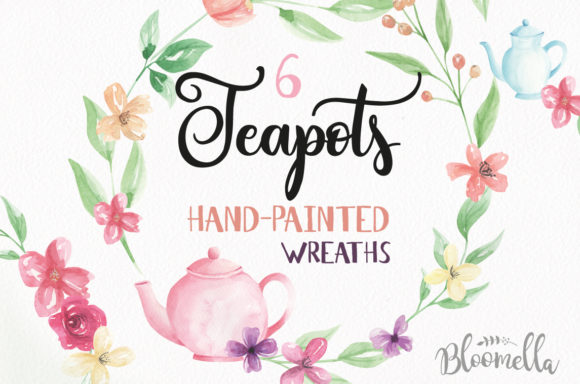 Watercolor Teapot Wreath Set Floral Graphic By Bloomella Image 1