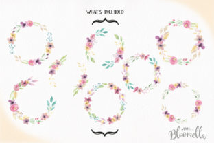 Watercolor Wreath Set 7 Flower Sweet Graphic By Bloomella