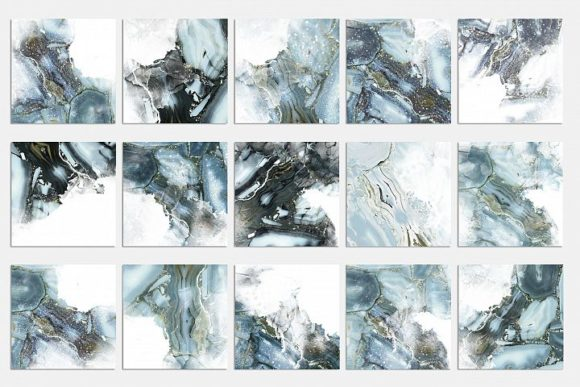 Print on Demand: Watercolor and Marble PNG Textures Graphic Textures By Creative Paper - Image 2