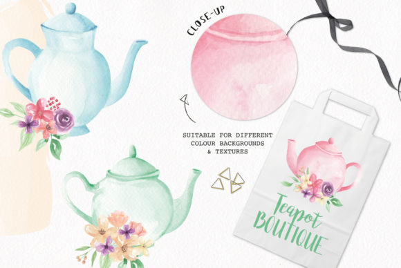 Watercolour Teapot Bouquets Flowers Tea Graphic Illustrations By Bloomella - Image 2