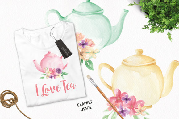 Watercolour Teapot Bouquets Flowers Tea Graphic Illustrations By Bloomella - Image 3