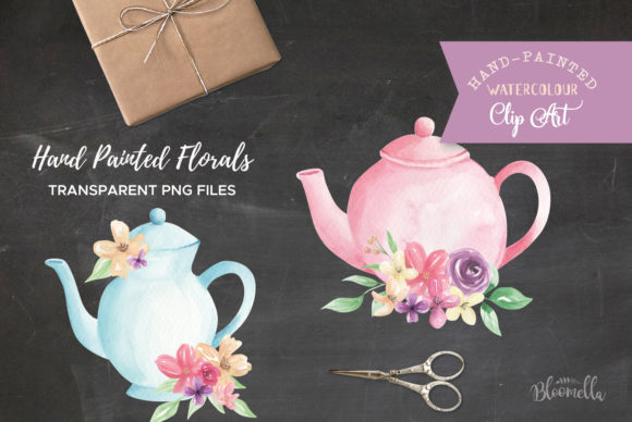 Watercolour Teapot Bouquets Flowers Tea Graphic Illustrations By Bloomella - Image 4