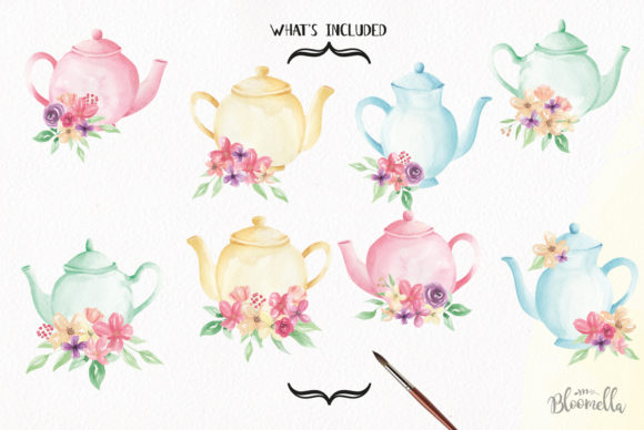 Watercolour Teapot Bouquets Flowers Tea Graphic Illustrations By Bloomella - Image 5