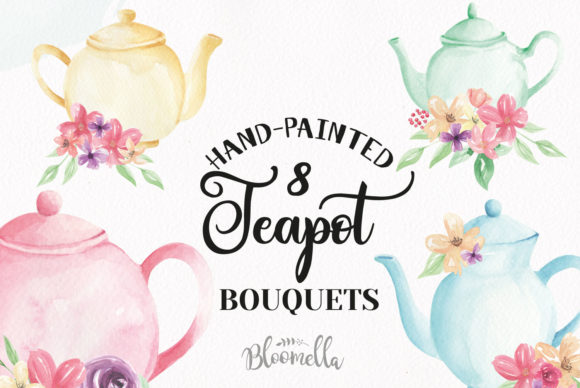 Watercolour Teapot Bouquets Flowers Tea Graphic Illustrations By Bloomella - Image 1