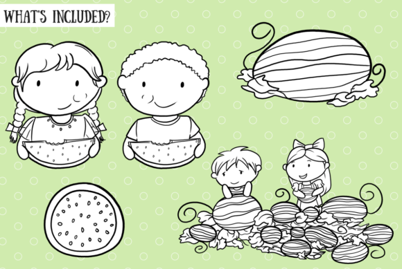 Download Free Watermelon Patch Black And White Graphic By for Cricut Explore, Silhouette and other cutting machines.