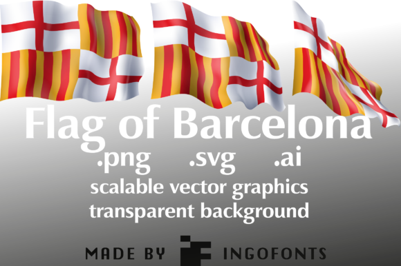 Download Free Waving Flag Of Barcelona Graphic By Ingofonts Creative Fabrica for Cricut Explore, Silhouette and other cutting machines.