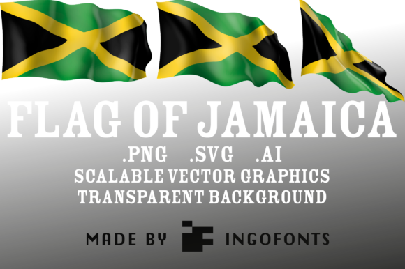 Download Free Waving Flag Of Jamaica Graphic By Ingofonts Creative Fabrica for Cricut Explore, Silhouette and other cutting machines.